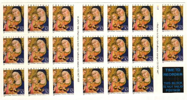 1997 32c Madonna & Child s/a pane of 20