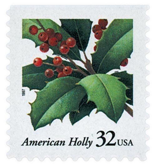 1997 32c Contemporary Christmas: American Holly