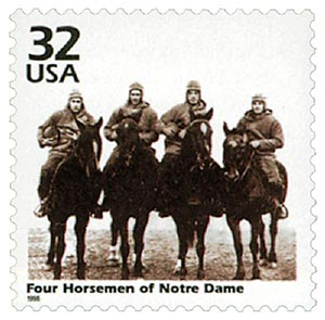 1998 32c Four Horsemen single CTC pane