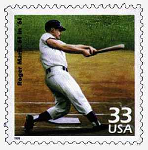 1999 33c Celebrate the Century - 1960s: Roger Maris Breaks 61 in 61