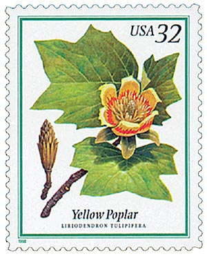 1998 32c Flowering Trees: Yellow Poplar