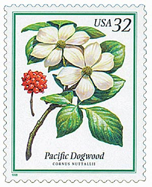 1998 32c Flowering Trees: Pacific Dogwood