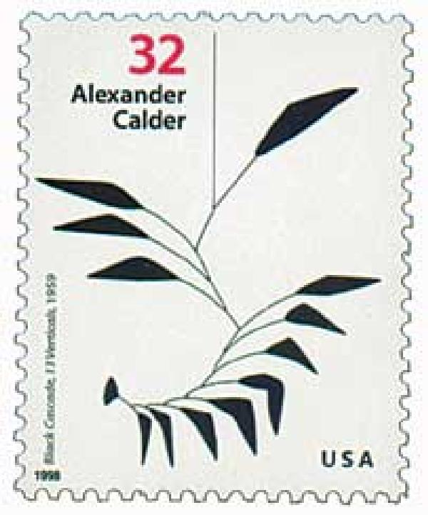 "1998 32c Alexander Calder: ""Black Cascade, 13 Verticals"""