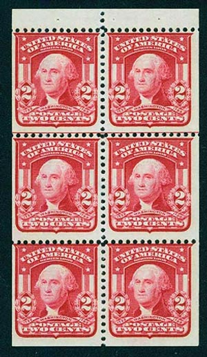 1903 2c Washington, carmine, bklt pane