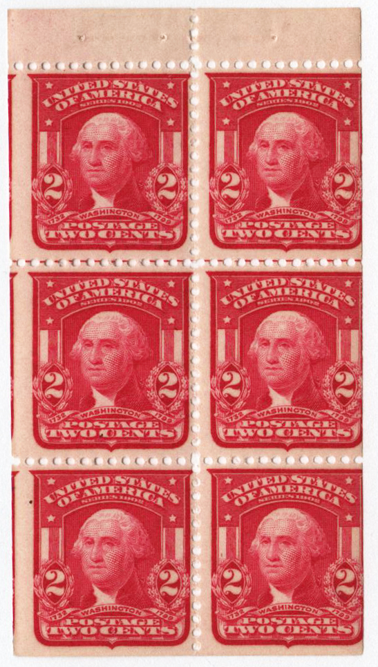 1903 2c Washington, scarlet, bklt pane