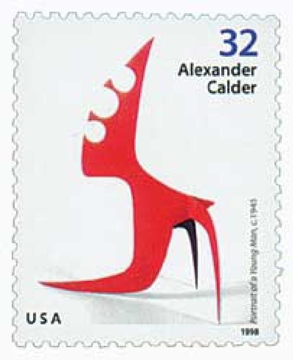 "1998 32c Alexander Calder: ""Portrait of a Young Man"""