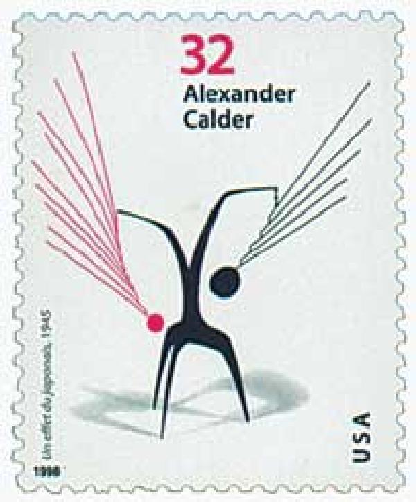 """1998 32c Alexander Calder: """"Un effet du japonais"""""""