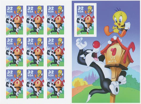 1998 32c Sylvester & Tweety pane of 10
