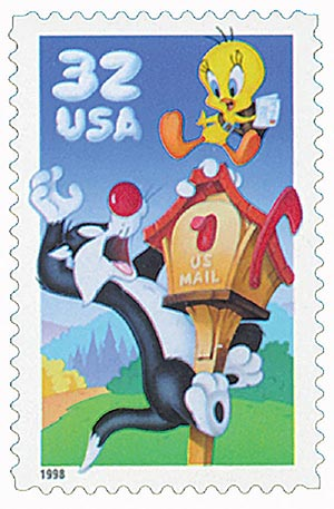 1998 32c Sylvester and Tweety, single from pane of 10