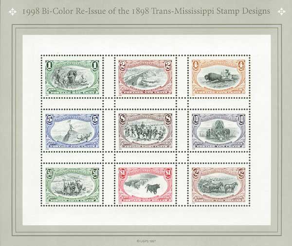 1998 1c - $2 Trans-Mississippi, souvenir sheet