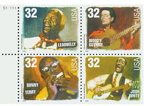 1998 32c Folk Musicians, block of 4 stamps