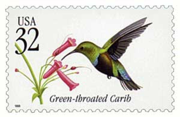 1998 32c Green-throated Carib Tropical Bird