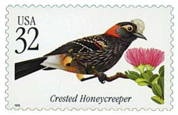 1998 32c Crested Honeycreeper Tropical Bird
