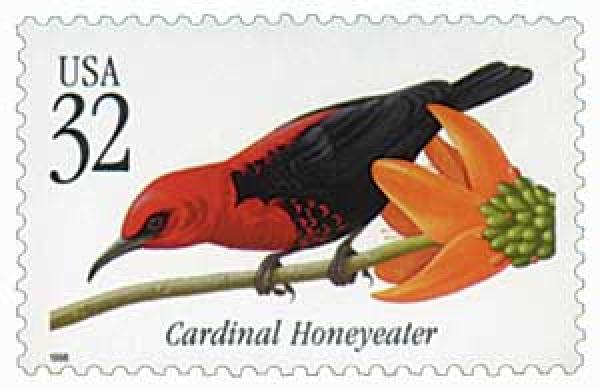 1998 32c Cardinal Honeyeater Tropical Bird