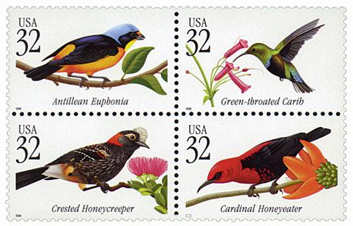 1998 32c Tropical Birds, block of 4 stamps