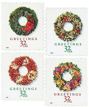 1998 32c Contemporary Christmas: Wreaths, booklet stamps