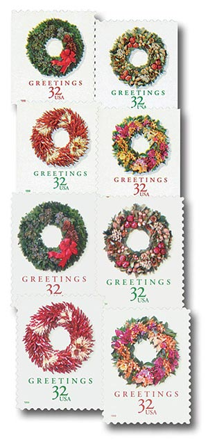 1998 32c Contemporary Christmas: Wreaths, set of 8 stamps