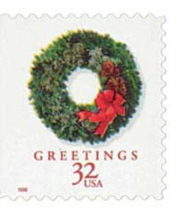 1998 32c Contemporary Christmas: Evergreen Wreath, booklet single