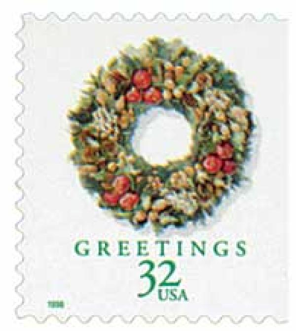 1998 32c Contemporary Christmas: Victorian Wreath, booklet single