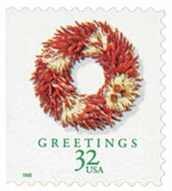 1998 32c Contemporary Christmas: Chili Pepper Wreath, booklet single