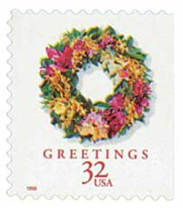 1998 32c Contemporary Christmas: Tropical Wreath, booklet single