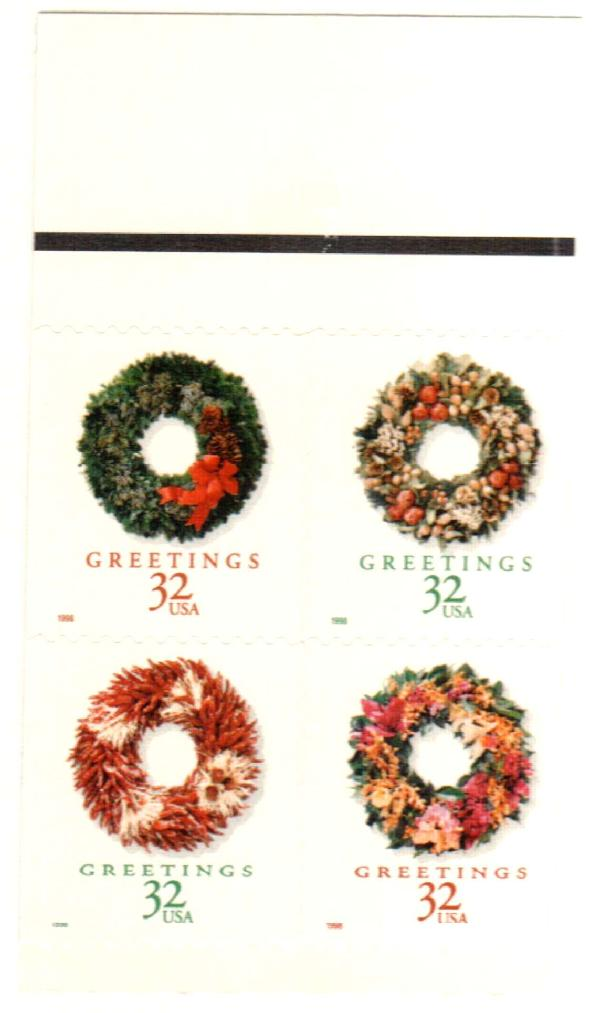 1998 32c Wreaths, s/a, block of 4