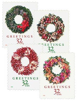 1998 32c Contemporary Christmas: Wreaths