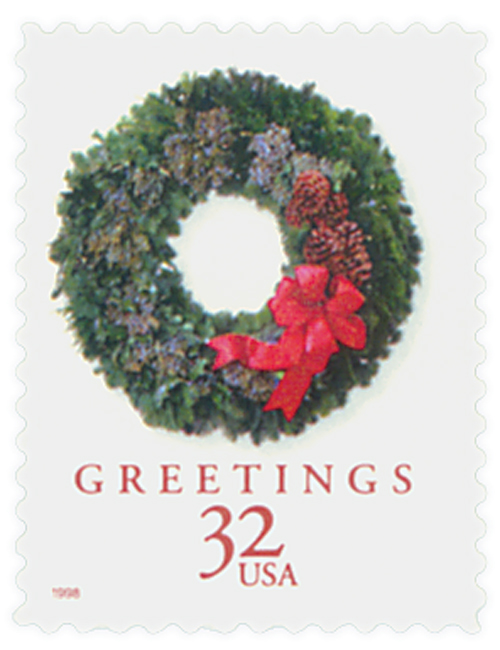 1998 32c Contemporary Christmas: Evergreen Wreath