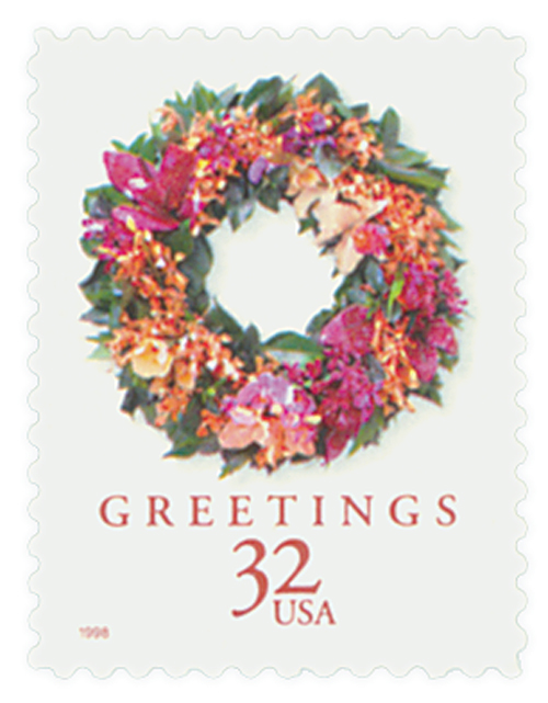 1998 32c Contemporary Christmas: Tropical Wreath