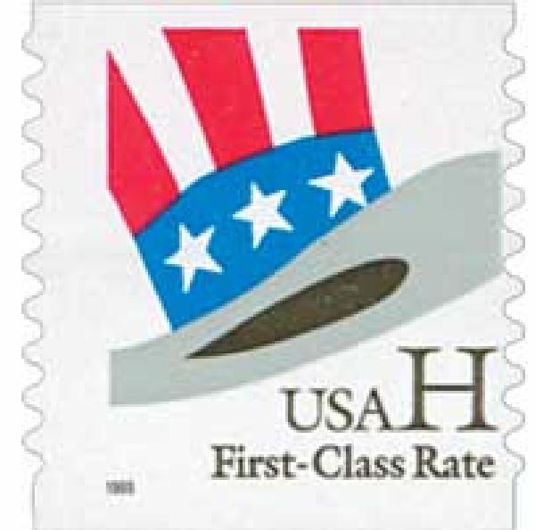 1998 33c H-rate Uncle Sam's Hat, coil, 9.9 serpentine cut