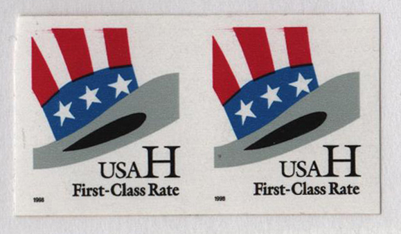 1998 H s/a coil stamp, 9.9 serpentine, imperf pair