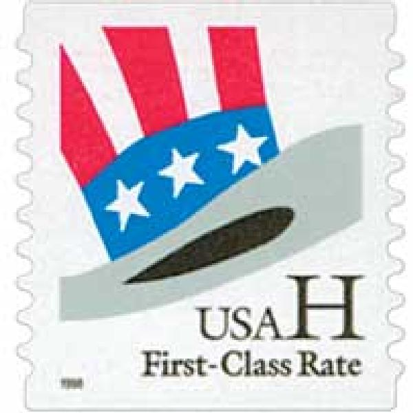1998 33c H-rate Uncle Sam's Hat, coil, 9.9 vertical serpentine cut