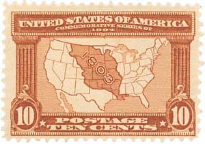1904 10c Louisiana Commemorative: Map of the Louisiana Purchase