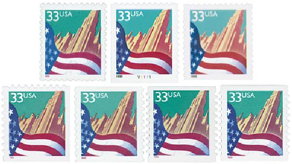 1999 33c Flag Over City, set of  7 stamps