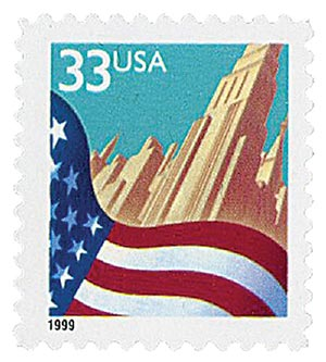 1999 33c Flag And City, self-adhesive