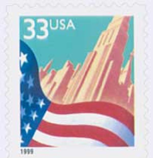 1999 33c Flag Over City, self-adhesive booklet stamp