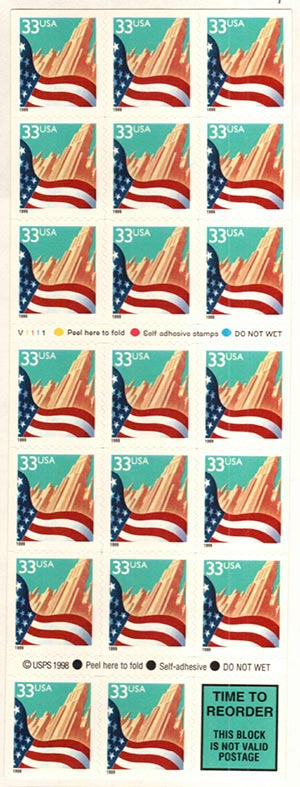 1999 33c Flag And City, bk pn 20+ label