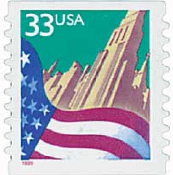 1999 33c Flag and City, self-adhesive coil