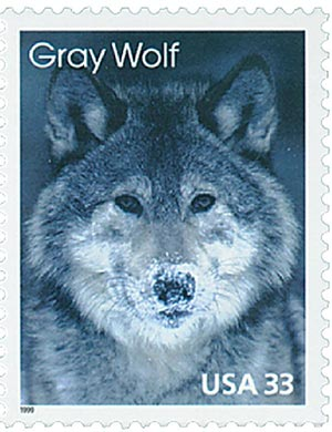 1999 33c Arctic Animals: Gray Wolf