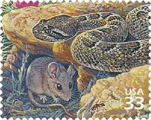 1999 33c Sonoran Desert: Rattlesnake