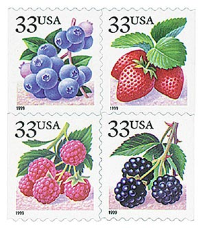 1999 33c Fruit Berries, booklet stamps