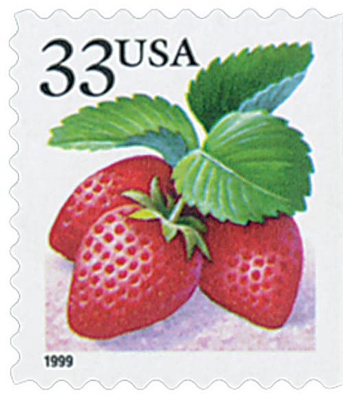 1999 33c Strawberries, booklet single