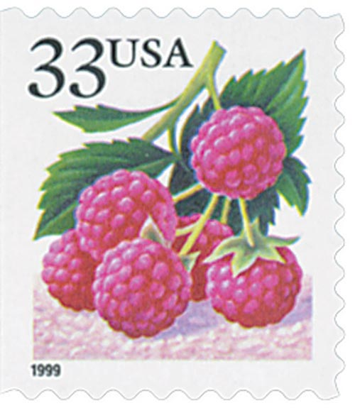1999 33c Raspberry, booklet single