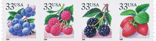 1999 33c Fruit Berries, coil stamps