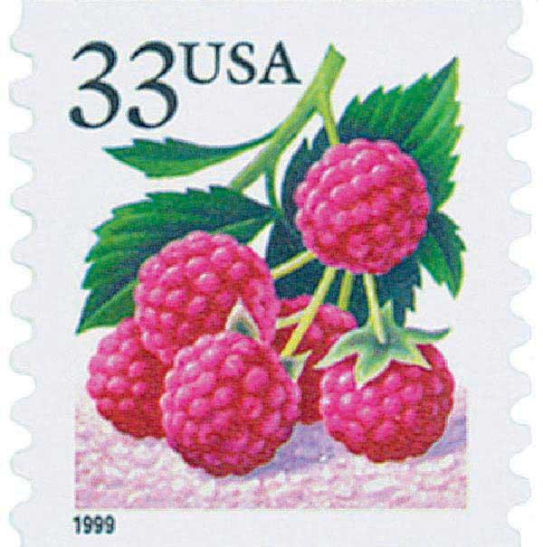 1999 33c Raspberry, coil, s/a