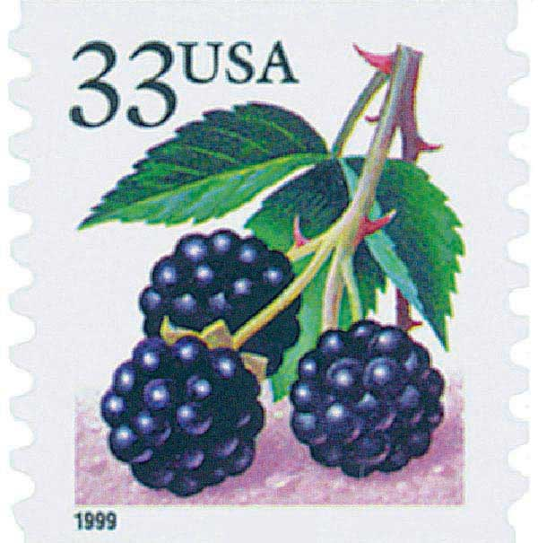 1999 33c Blackberries, coil, s/a