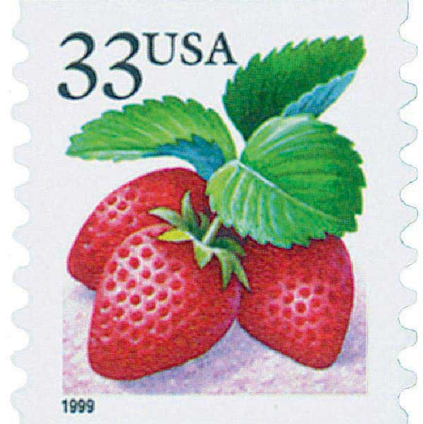 1999 33c Strawberry, coil, s/a