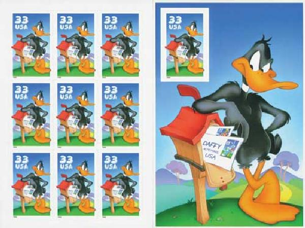 1999 33c Daffy Duck, s/a Pane of 10