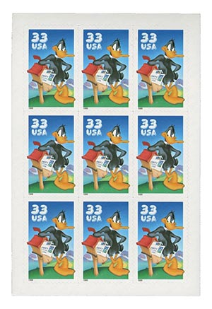 1999 33c Daffy Duck, pane of 9 stamps