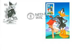 1999 33c Daffy Duck, single from pane of 10